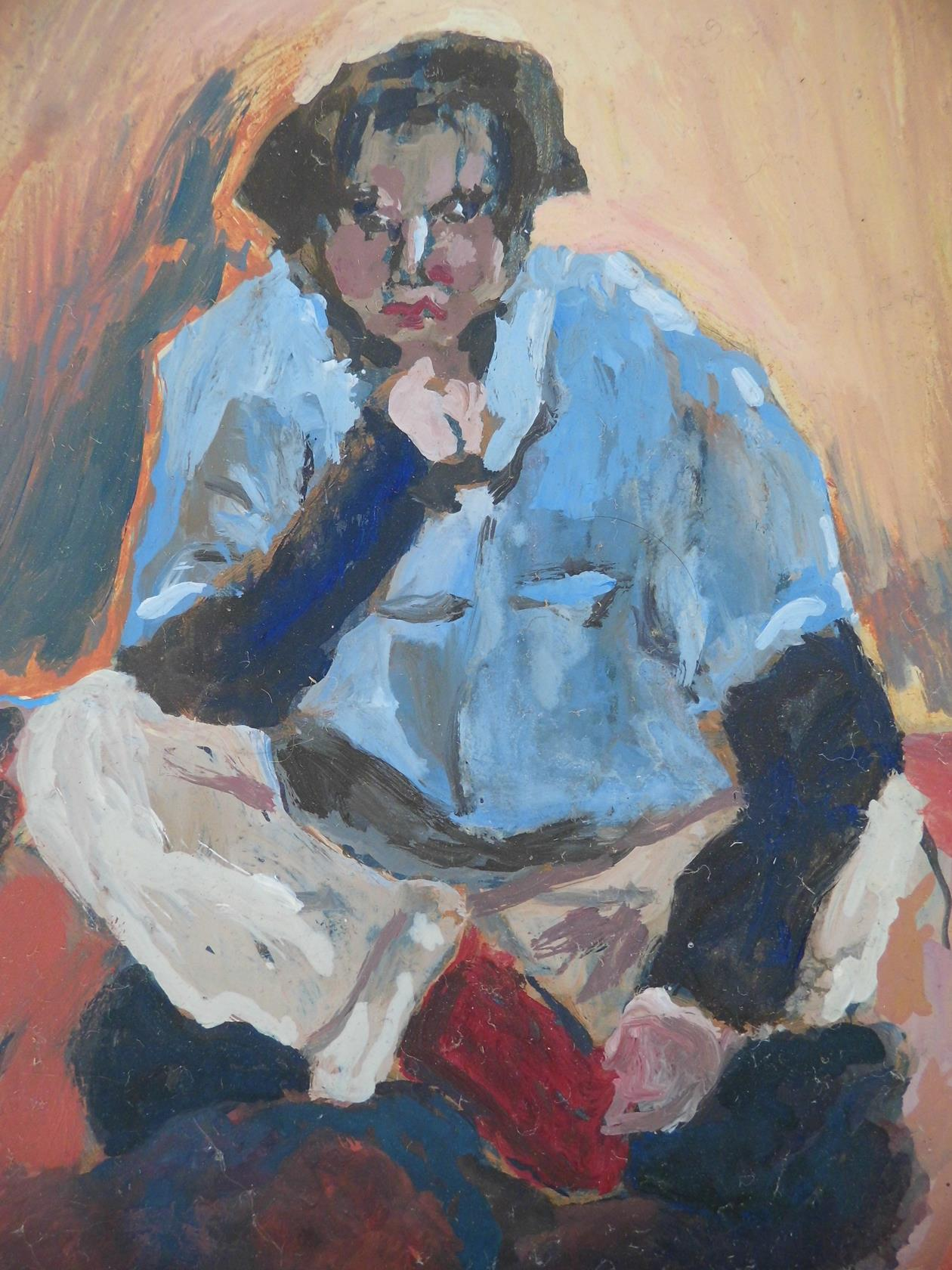 'What Are You Staring At?' From the 'Cross Legged Series' Oil on Board 1995