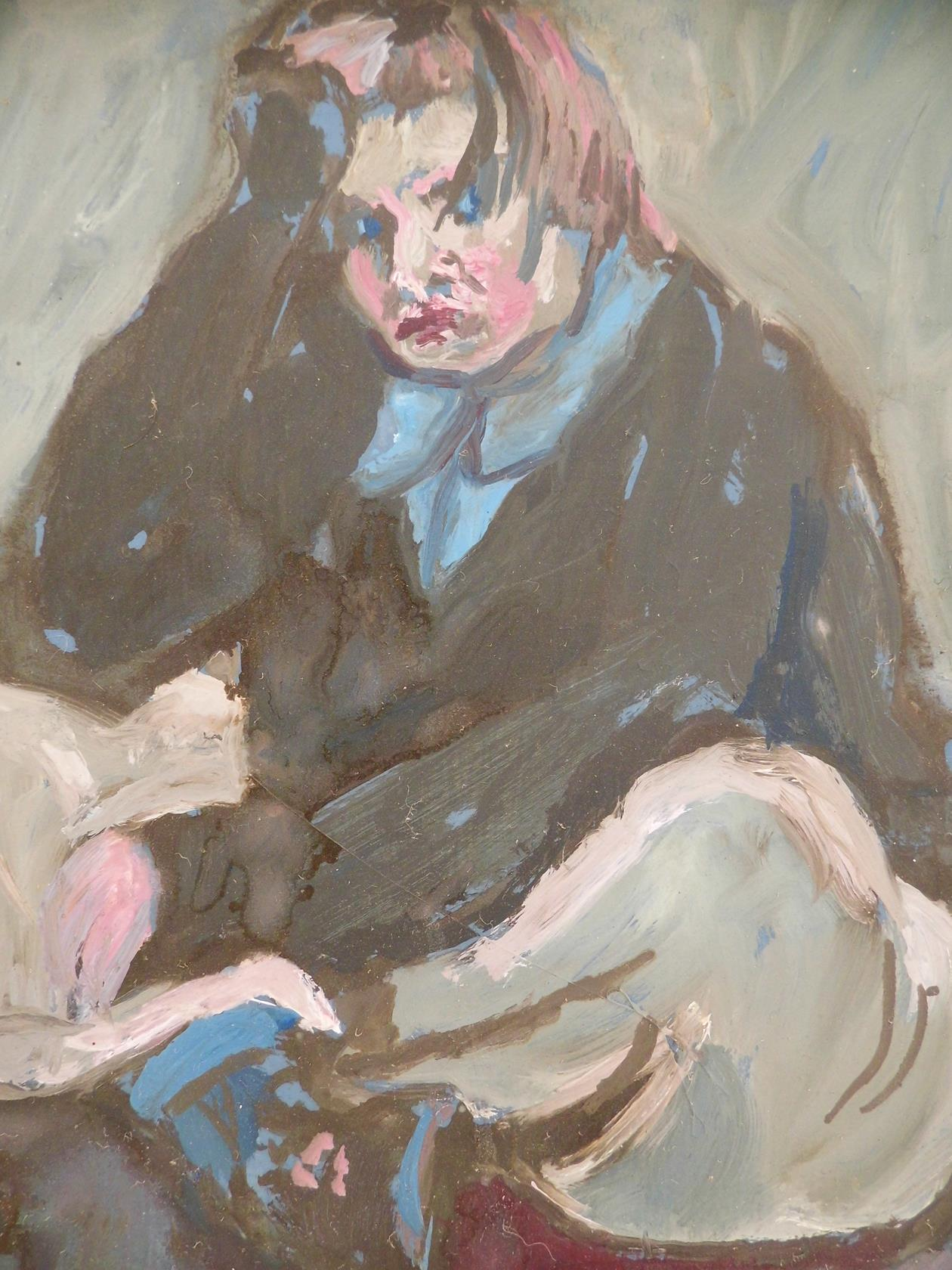 'Why Don't You Just Go Away?' From the Cross Legged Series Oil on Board 1995