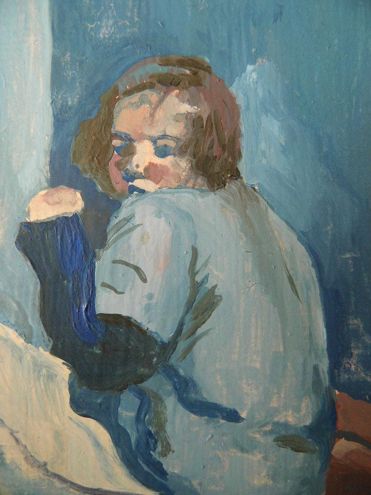 'Study - Curled in the Corner in Smokey Blue' Oil on Board 1995