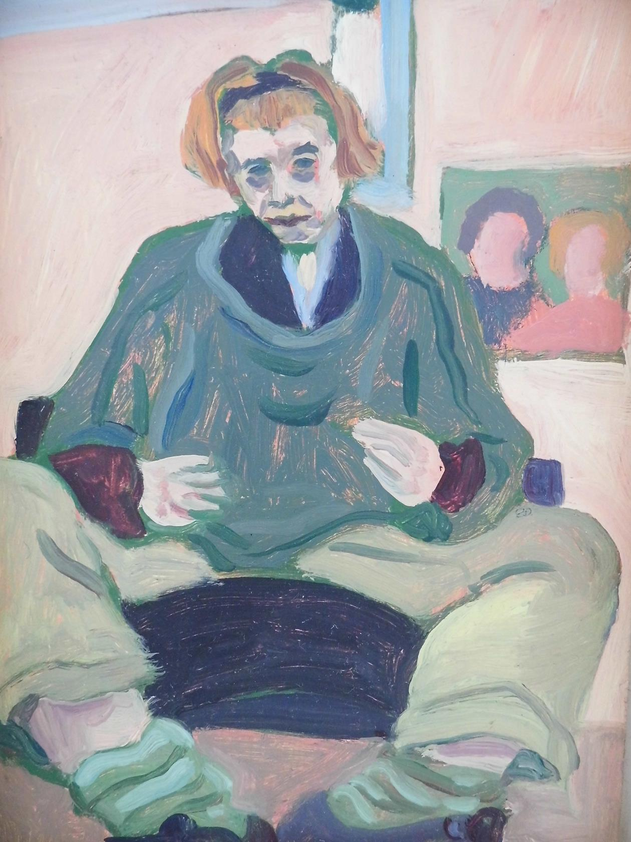 'Study in Pink with Portrait Below' Oil on Board 1995
