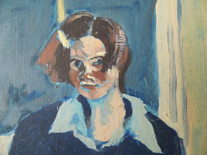 'Study - With Hair Grip in Blue and Lemon' Oil on Board 13cms w by 9.2cms h