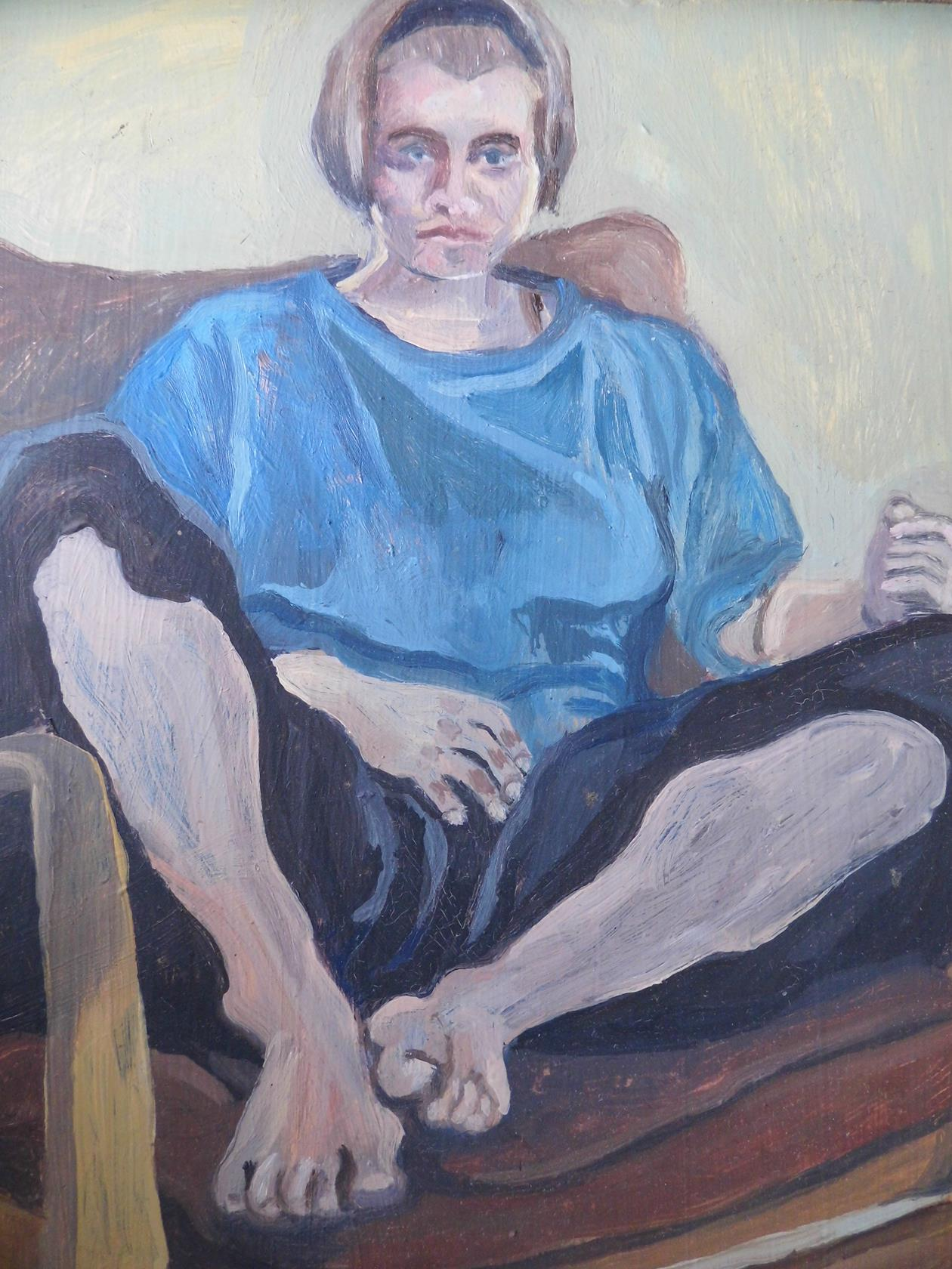 'Trying To Be Laid Back But Also A Doyen Of Intellect And Authority' From the Trying To Series Oil on Board 1995