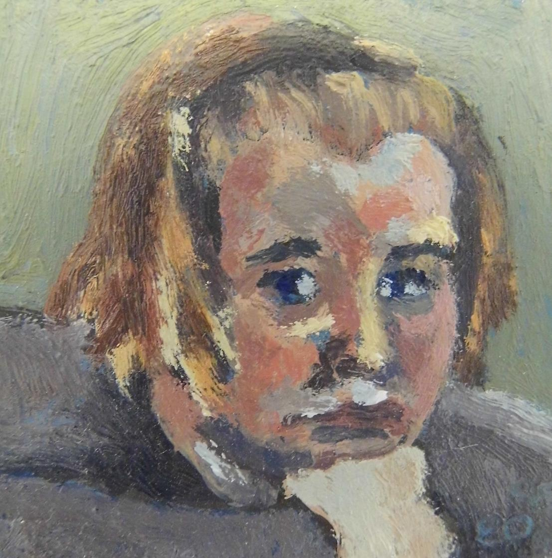 'Tiny Head 1' From the Twelve to Forty Series Oil on Board 1995
